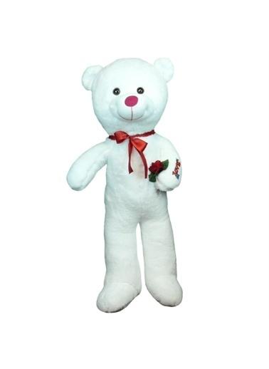 Sole 80 cm Gül Tutan Romantik Sevimli Peluş Ayı - Sevgiliye Özel HEDİYE Beyaz
